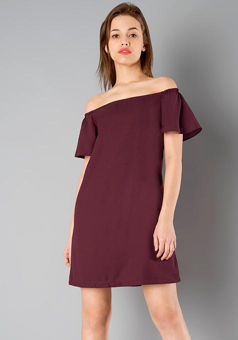 BASICS Bardot Dress - Oxblood