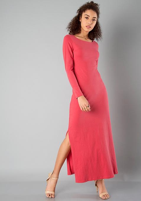 BASICS Slit Maxi Dress - Coral