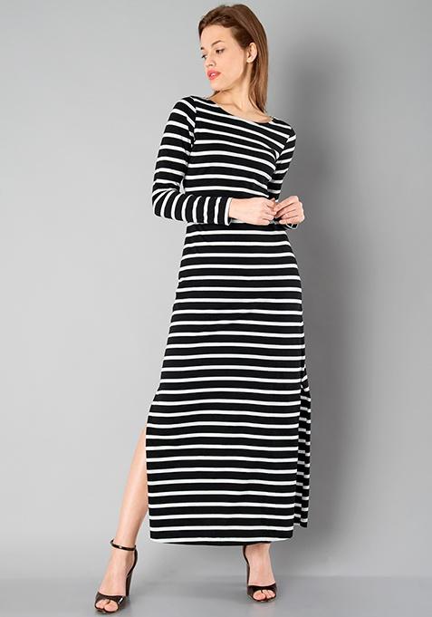 BASICS Slit Maxi Dress - Stripes