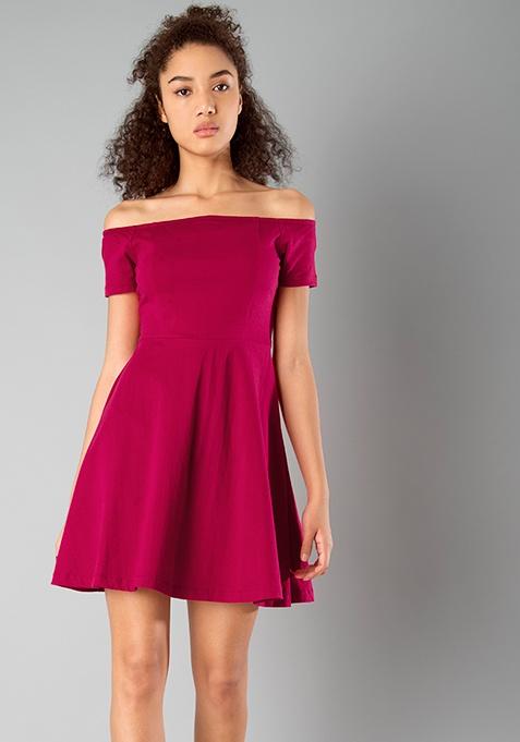 BASICS Off Shoulder Skater Dress - Pink
