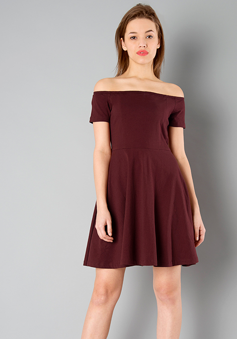 BASICS Off Shoulder Skater Dress - Oxblood