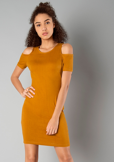 BASICS Cold Shoulder Bodycon Dress - Mustard