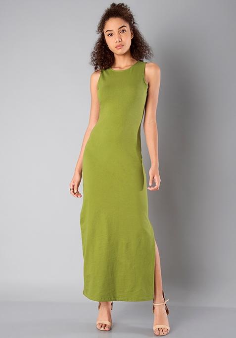 BASICS Side Slit Maxi Dress - Olive