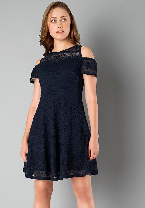 Cold Shoulder Lace Skater Dress - Navy
