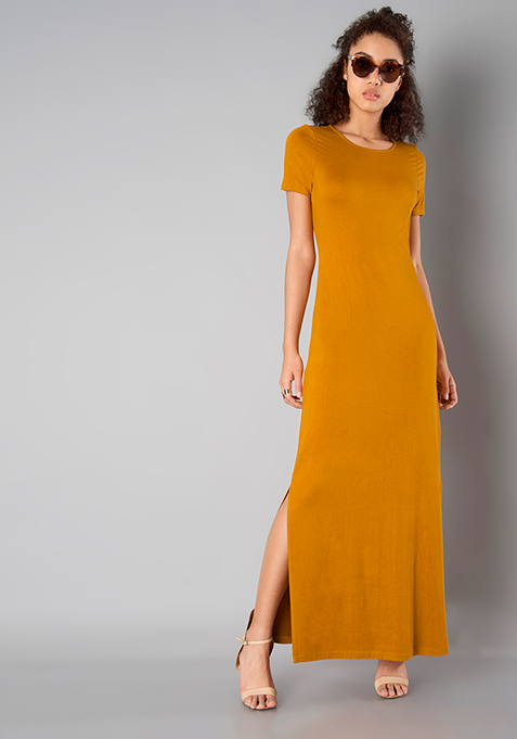 BASICS Slit Sass Maxi Dress - Mustard