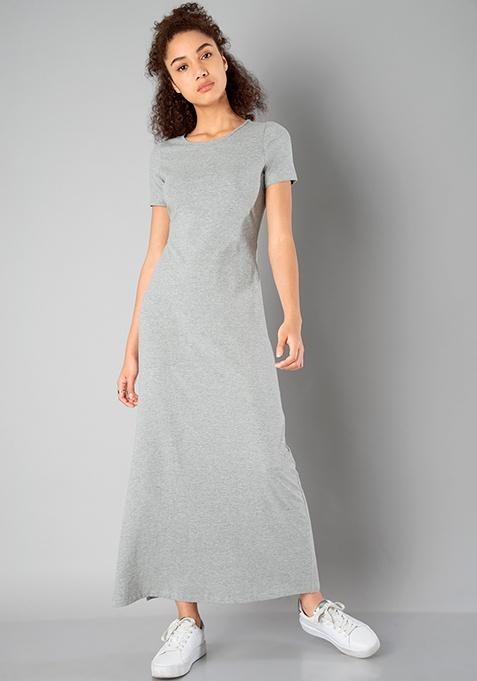 BASICS Slit Sass Maxi Dress - Grey