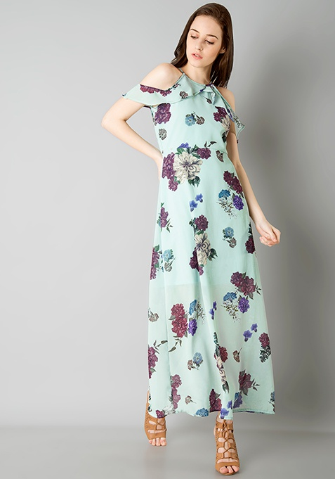 Strappy Cold Shoulder Maxi Dress - Mint