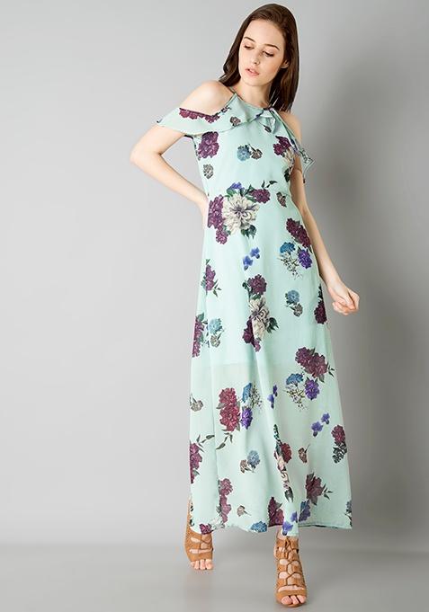 Strappy Cold Shoulder Maxi Dress - Mint