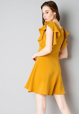 Ruffle Sleeve Skater Dress - Mustard