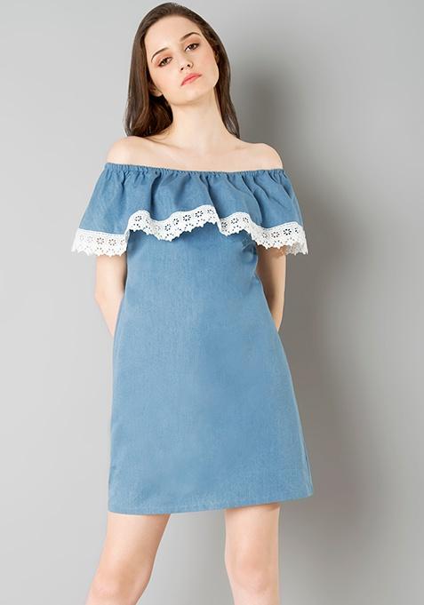 Ruffled Off Shoulder Dress - Denim
