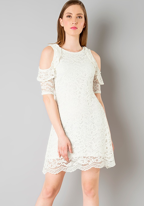 Cold Shoulder Lace Skater Dress - White