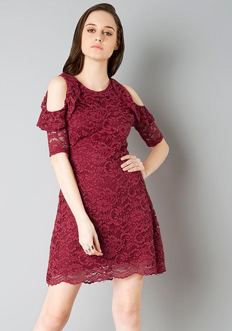 Cold Shoulder Lace Skater Dress - Oxblood