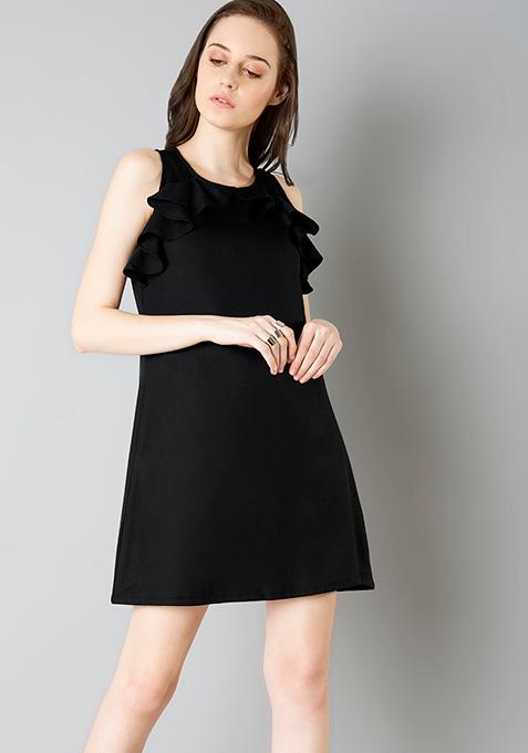 Ruffle Away Shift Dress - Black