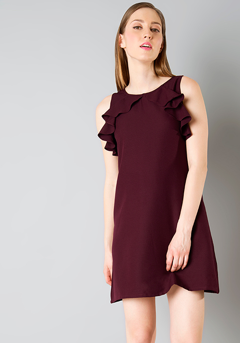 Ruffle Away Shift Dress - Wine