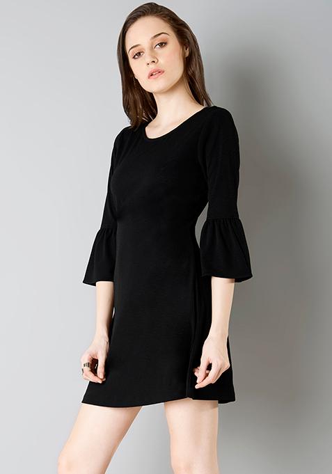 Bell Sleeve Skater Dress - Black
