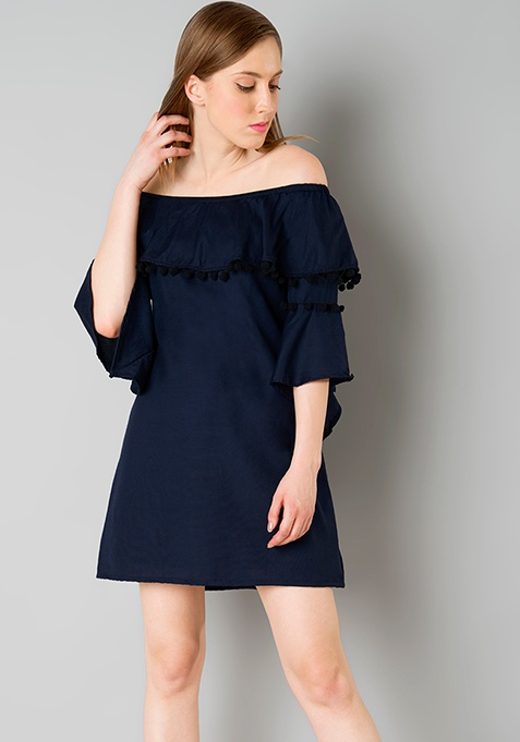 Pom Pom Off Shoulder Shift Dress - Navy