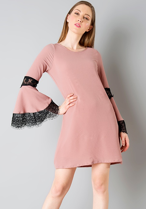 Lace Bell Sleeve Dress - Dusty Pink