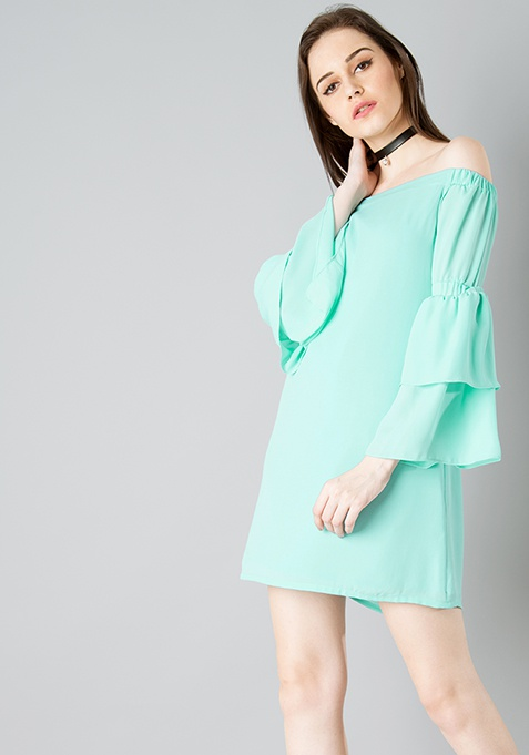 Layered Bell Sleeve Shift Dress - Mint