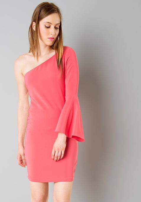 One Shoulder Bodycon Dress - Coral