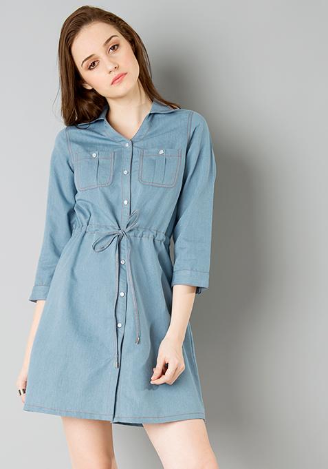 Belted Denim Shirt Dress - Light Wash