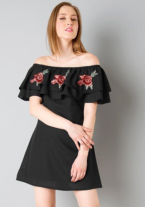 Embroidered Off Shoulder Dress - Black