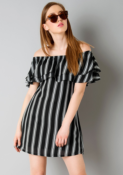 Off Shoulder Ruffled Dress - Stripes