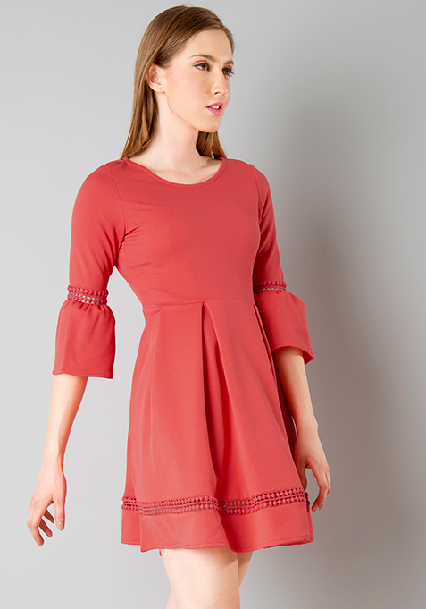 Lace Insert Bell Sleeve Skater Dress - Coral