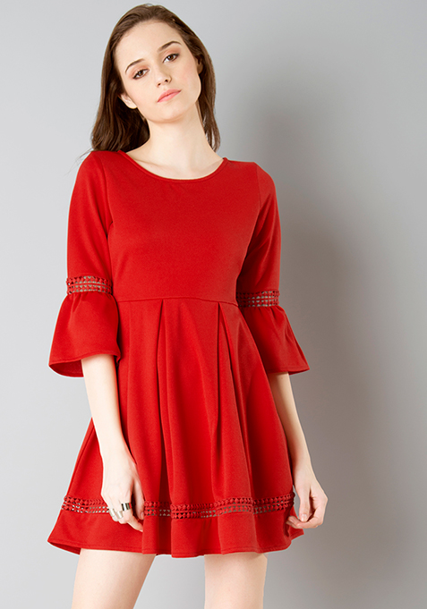 Lace Insert Bell Sleeve Skater Dress - Red