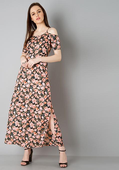 Strappy Cold Shoulder Maxi Dress - Peach Floral