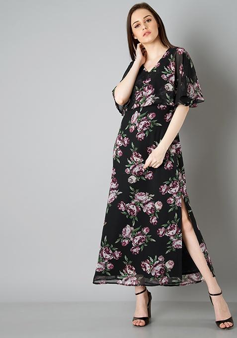 Cape Maxi Dress - Black Floral