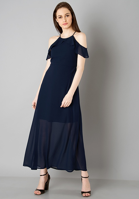 Strappy Cold Shoulder Maxi Dress - Navy