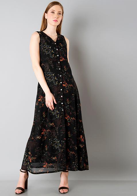 Shirt Maxi Dress - Black Floral