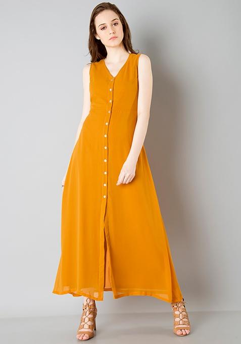 Shirt Maxi Dress - Mustard