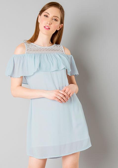 Lace Yoke Cold Shoulder Dress - Light Blue