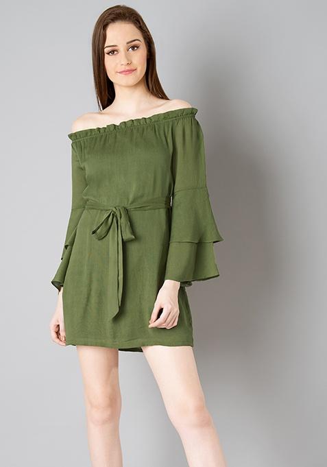 Belted Bardot Shift Dress - Olive