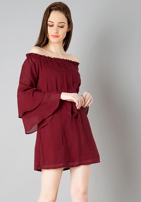 Belted Bardot Shift Dress - Oxblood