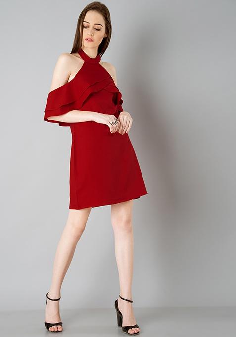Ruffled Halter Dress - Red