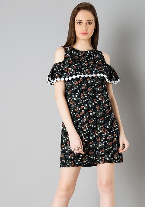Lace Insert Cold Shoulder Dress - Floral