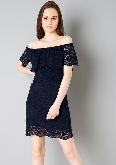 Off Shoulder Lace Bodycon Dress - Navy