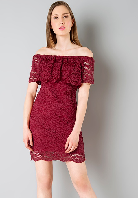 Off Shoulder Lace Bodycon Dress - Oxblood