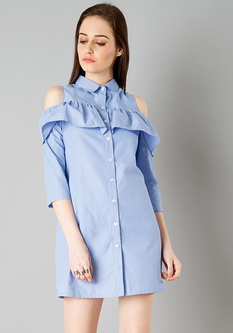 Cold Shoulder Shirt Dress - Blue Stripes