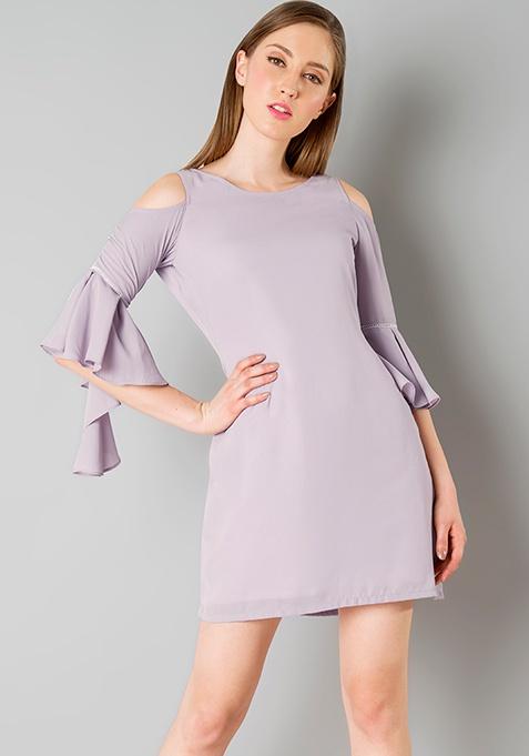 Cold Shoulder Asymmetric Bell Sleeve Dress - Mauve