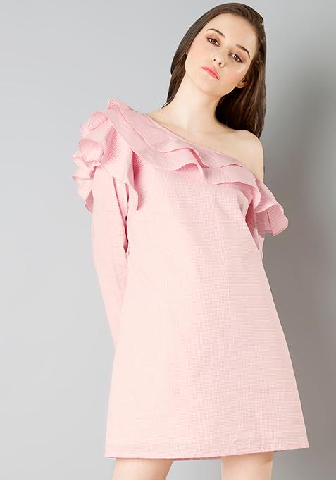 One Shoulder Ruffle Dress - Pink Gingham