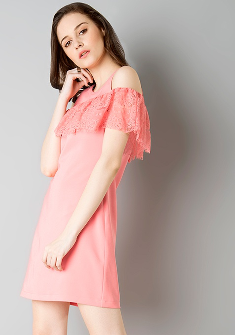 Lace Ruffle Cold Shoulder Dress - Pink