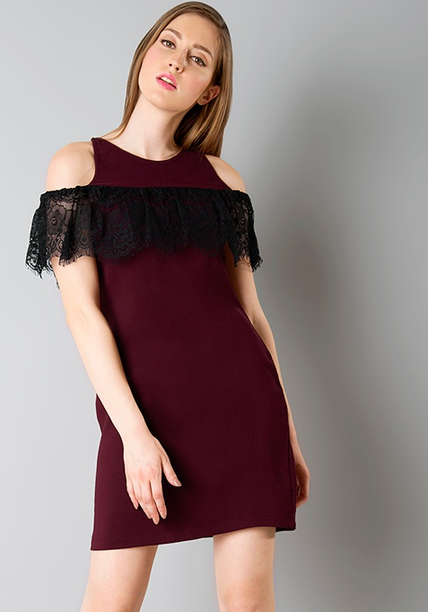 Lace Ruffle Cold Shoulder Dress - Wine