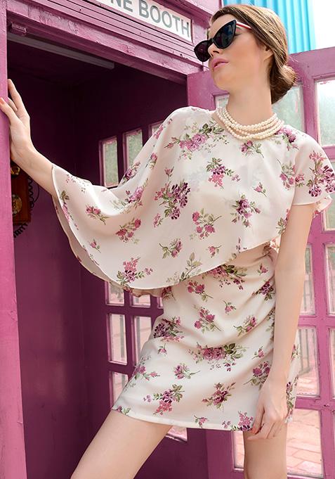 Cape Shift Dress - Floral