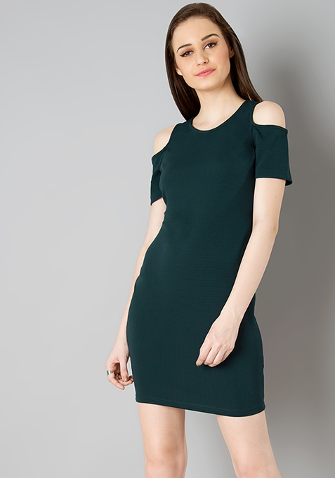 Cold Shoulder Bodycon Dress - Green