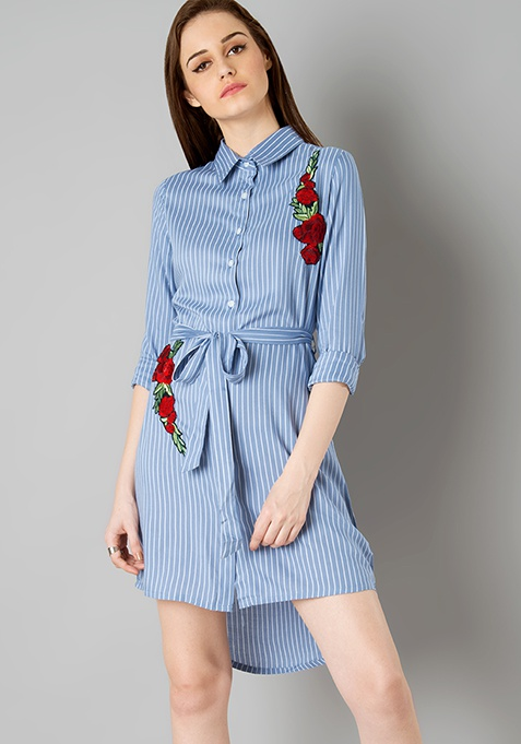 Embroidered Shirt Dress - Blue Stripes