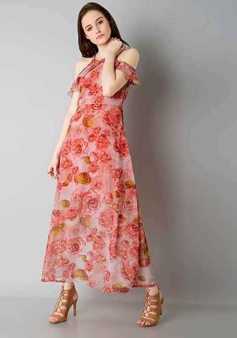 Strappy Cold Shoulder Maxi Dress - Floral
