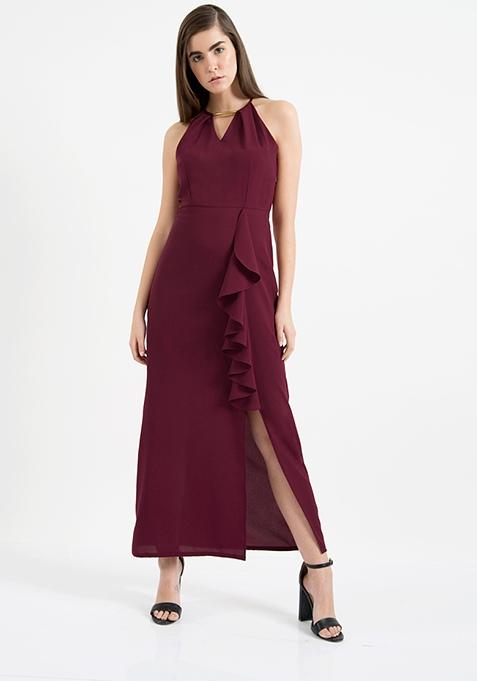 AlliaForFabAlley Halter Neck Maxi Dress - Oxblood